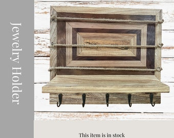 Rustic Wood Jewelry Holder and Storage. Pattern Jewelry Organizer with rustic charm. Wood Jewelry Holder.
