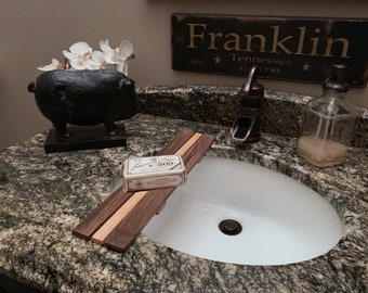 Sink Tray, with slots for Sink Decoration.  Made From Reclaimed Assorted Woods.
