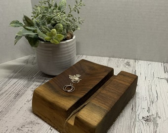 Wood Charging Station for Phone or Tablet. Docking Station, Electronic Storage.