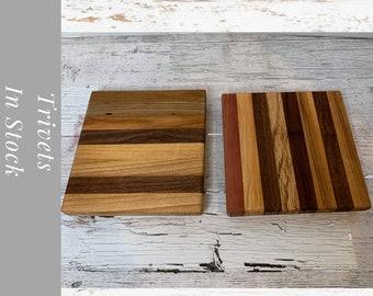 Rustic Wood Trivet, kitchen decor. Set of two Wood Pot Holders.