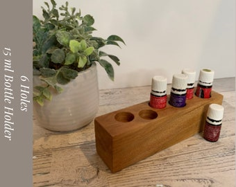 Essential Oil Wood Holder. Rollerball Holder with 6 Holes for Essential Oil 5ml Bottles.