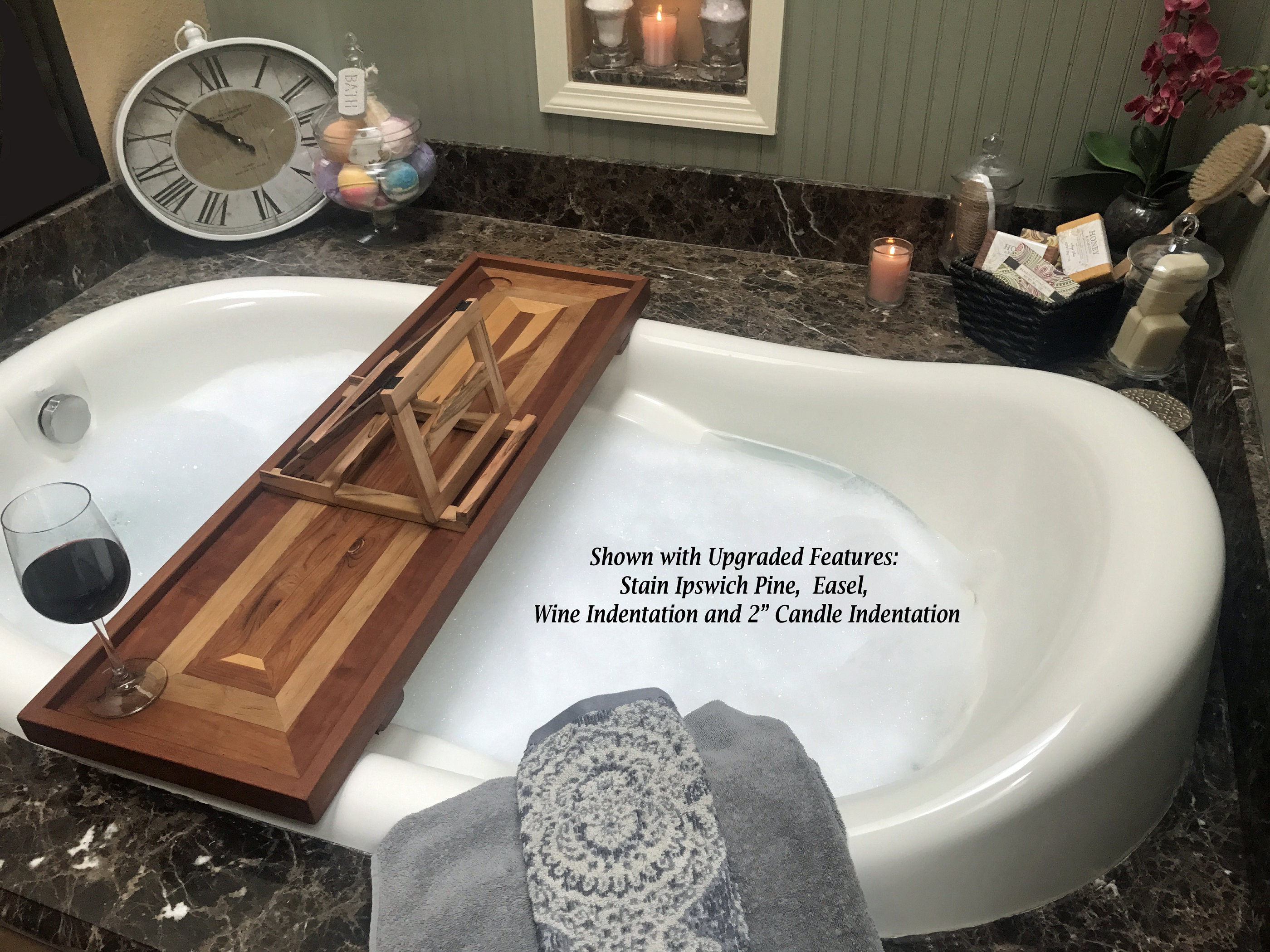 Wood Bath Tub Tray with optional wine holder. Bathtub Tray Shelf ...