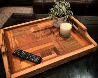 Serving Tray, Table serving tray   from reclaimed mixed wood and barnwood handles. Unique. Decorative Serving Tray