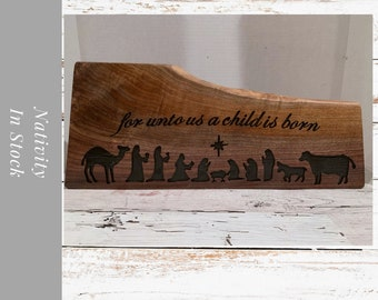 Wood Nativity Sign/Block /carved nativity. Freestanding or wall hanging. Christmas Nativity Set