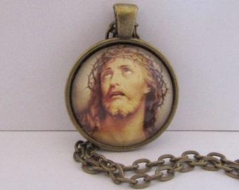 Passion of the Christ Pendant, Jesus of Nazareth Pendant, Catholic Art Necklace, Christian Jewelry, Lenten Jewelry, Confirmation Gift