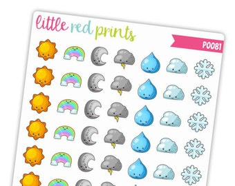 Kawaii Weather Icon Planner Stickers for the Erin Condren Life Planner, Weather Sticker, Icon Planner Sticker - [P0081]