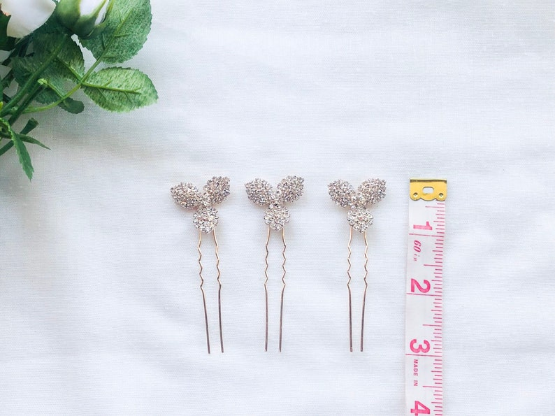 Rose Gold Flower Rhinestone Hair Pin Bridal Jewelry Art Deco Bride Clover Bridesmaid Special Occasion Wedding Crystal Accessory Pins Clip