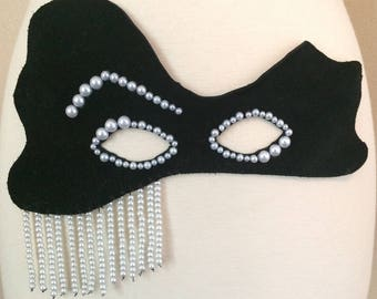 Black Leather Mask With Pearls