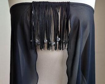 Black Sheer Top with Fringe