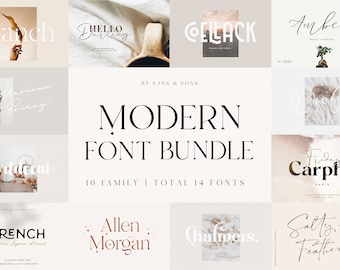 Modern Font Bundle - Cricut Fonts, Procreate Fonts, Canva Fonts, Branding Font, Handwritten Fonts, Farmhouse Fonts, Fonts for Crafting