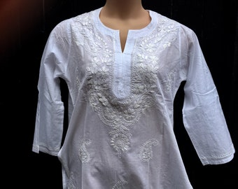 a4c526b23f Bust 42 in White thin cotton tunic