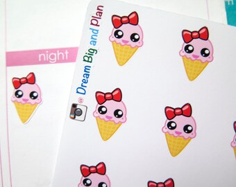 Kawaii Ice Cream Planner Stickers! DBP222