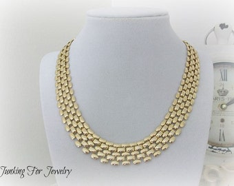 Vintage Chain Necklace Choker Gold Tone