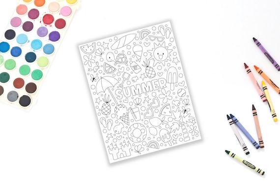 Summer Theme Coloring Page  Please read item description for