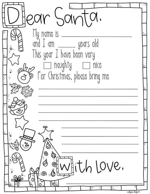 Simplicity image regarding letter to santa printable