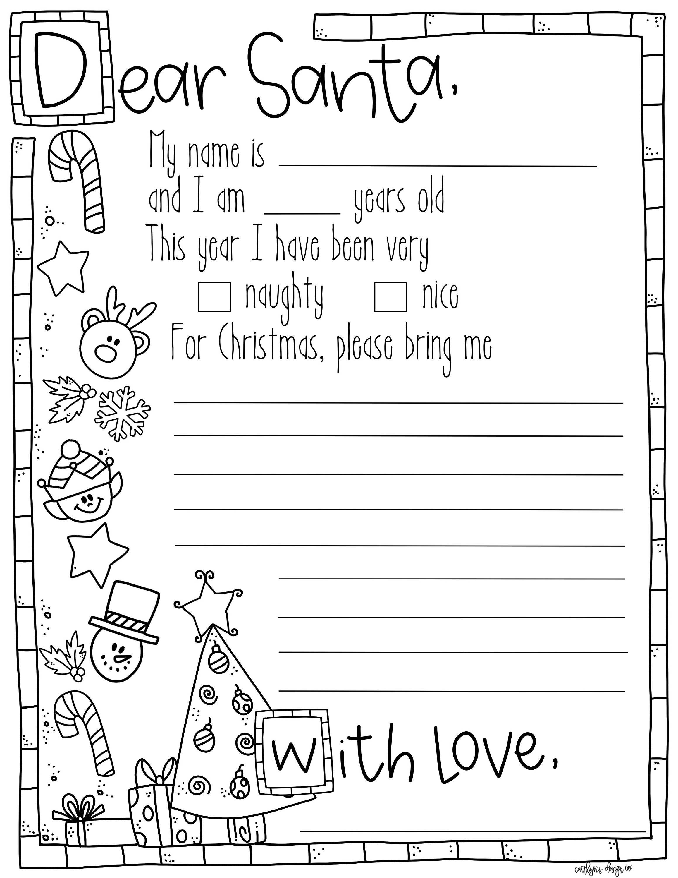 This is a photo of Bright letter to santa coloring page