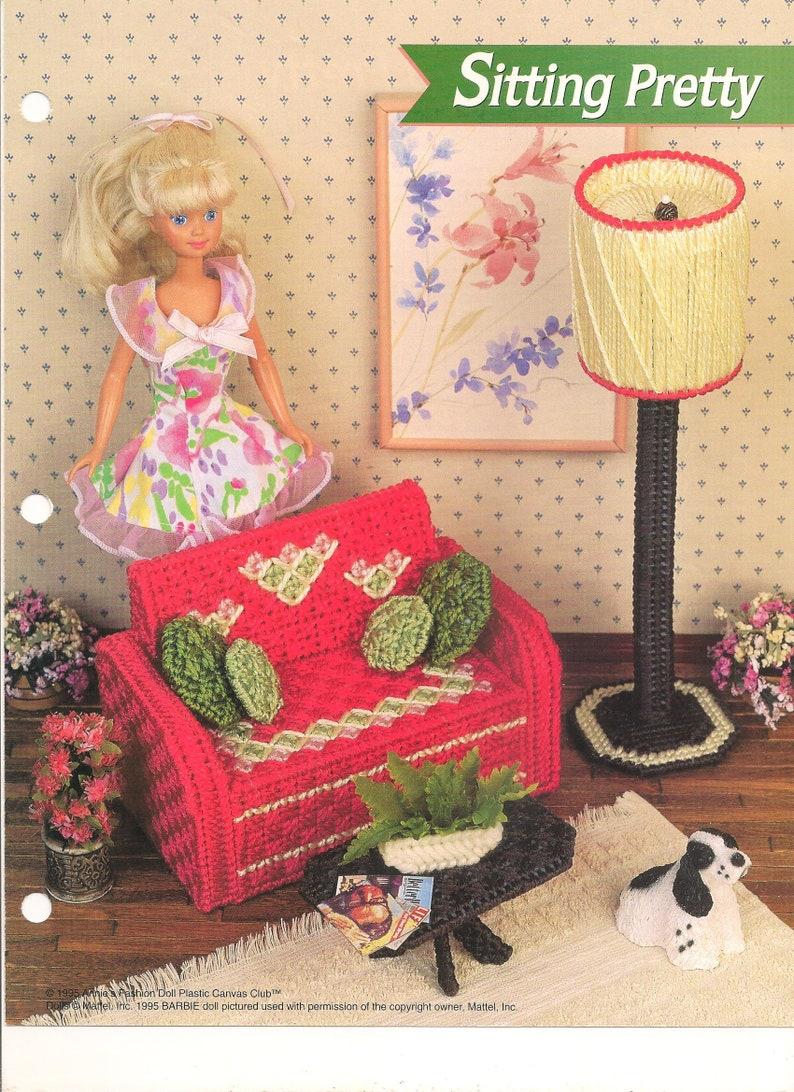 Plastic Canvas Digital Vintage Pattern Barbie Fashion Doll image 0