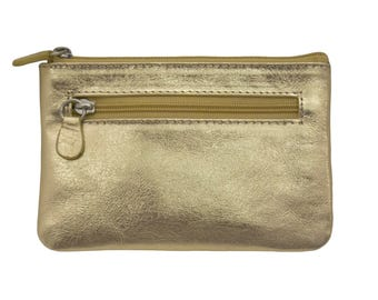 metallic gold or silver leather coin purse with key ring