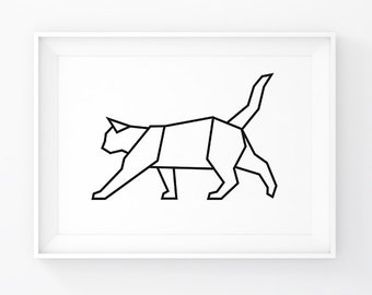 Geometric Cat Origami Wall Decal Prints Art Animals Printable Black And White Poster