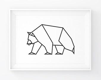 Scandinavian Modern Bear Art Print Geometric Woodland Prints Wild Animals Animal Forest Origami