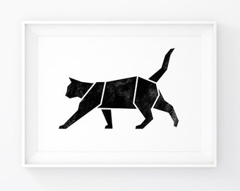 Cat Art, Cat Lover Gift, Cat Print, Geometric Cat, Origami Cat, Cat Poster, Cat Decal, Geometric Animal, Printable Cat, Cat Decor, Pet Gift