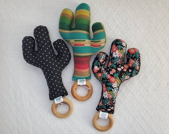 Cactus Baby Rattle Teether Toy, baby rattle, cactus teether, teething ring, cactus plushie, floral. By Prickly Pear Lane
