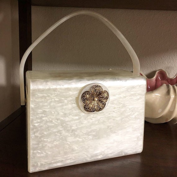 Vintage Lucite Handbag by Wilardy White Pearl Box