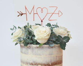 Wire Cake Topper, Personalized Cake Topper, Custom Cake Topper, Arrow cake topper, Initials Cake Topper,Heart cake topper,rustic cake topper