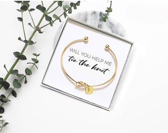 6f0d0e855 Personalized Love Knot Rose Gold Bridesmaid Bangle Bracelet