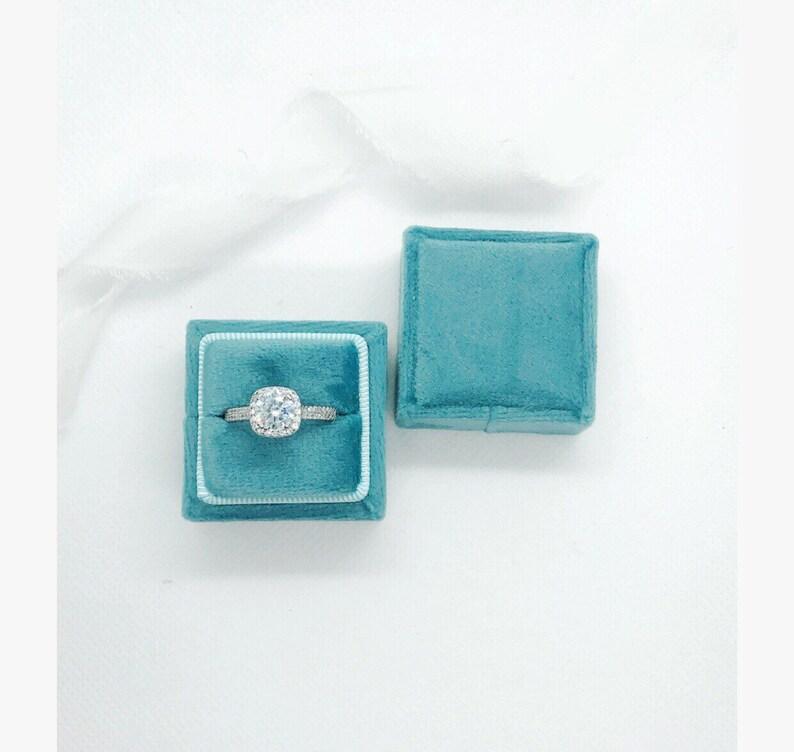 Sky Blue Velvet Wedding Ring Box,velvet ring box blue ring box monogram personalized ring box,engagement gift proposal box