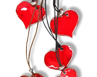 Ceramic heart pendant leather cord-Heart pendant with leather necklace