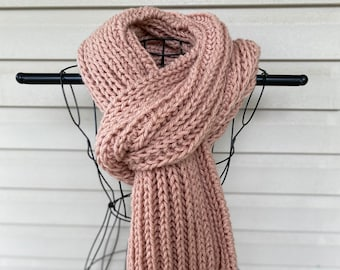 Chunky Knit Long Scarf in Pink Handmade