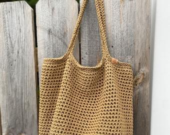 Large Crocheted Cotton Market Bag Tote   Handbag Purse Beach Bag