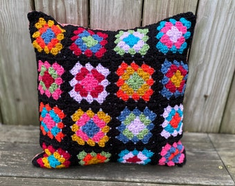 Crocheted Granny Square Pillow - Black