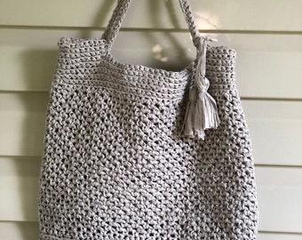 Tassel Tote Handmade Crocheted Market Bag Purse
