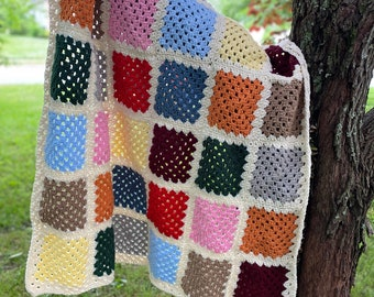 Color Block Granny Squares Crocheted Blanket