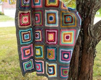Kaleidoscope Granny Squares Crocheted Throw Blanket Handmade
