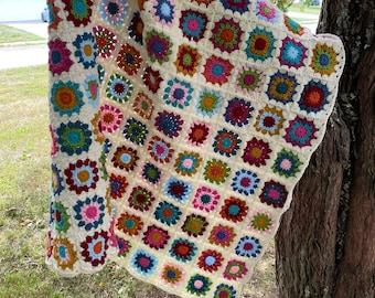 Flower Granny Square Crocheted Blanket Handmade