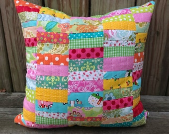 Scrap Happy Quilted Pillow