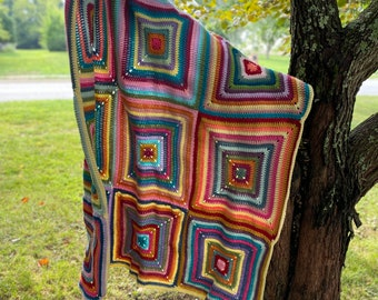 Colorful Granny Squares Crocheted Throw Blanket Handmade