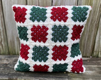 Christmas Crocheted Granny Square Pillow