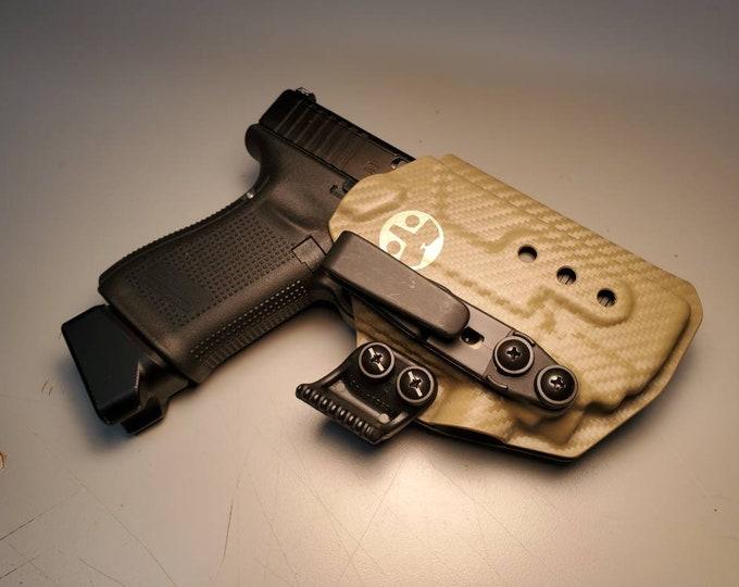 PL Mini 2 Glock 19/23/32 with Olight PL Mini 2 - Custom Kydex IWB Holster  (Glock 19 Gen 3-5 Compatible)