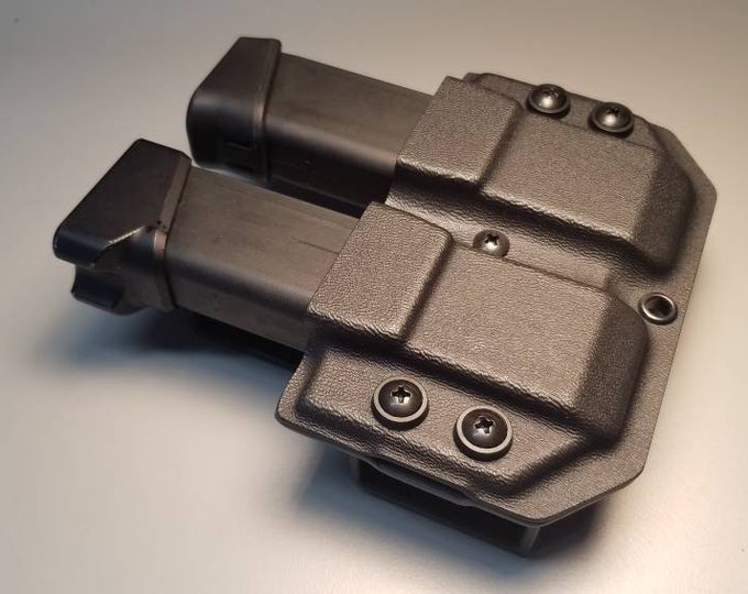 Universal OWB Double Magazine Carrier for Double Stack 45/10mm Mags - with Adjustable MRD (Mag Retention Device) | Ambidextrous