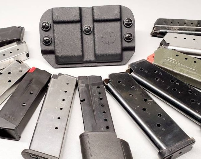 Universal OWB Double Magazine Carrier for Single Stack 9/40/45 Mags - with Adjustable MRD (Mag Retention Device) | Ambidextrous