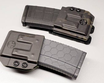 Universal AR/M4 Rifle Magazine Carrier for 223/556 Mags - with Adjustable MRD (Mag Retention Device) | Ambidextrous