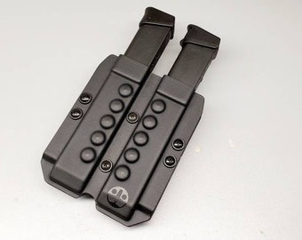 OWB Double Magazine Carrier for Hi Capacity Double Stack 9/40 Mags - with Adjustable MRD (Mag Retention Device) | Ambidextrous