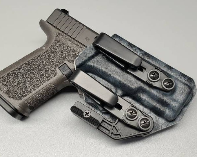 Quick Ship (One available) P80 Polymer 80 PF940C (Glock 19 Frame)- IWB Holster with Tuckable Clip(s) and Concealment Wing