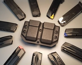 Universal OWB Double Magazine Carrier for Double Stack 9/40 Mags - with Adjustable MRD (Mag Retention Device) | Ambidextrous