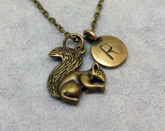 Bronze Squirrel with Initial necklace, initial charm, squirrel charm, squirrel pendant