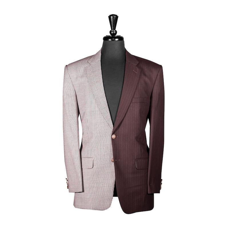 Men/'s Contrast Panel Blazer Elegant Party Wear Regular Fit Dressy Sport Coat 40R Designer Jacket Wedding Brown Houndstooth Wool Fabric